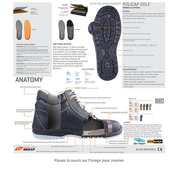 Chaussures de sécurité pour protéger les pieds au travail