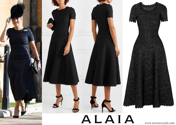 The Countess of Wessex wore Azzedine Alaia Scalloped metallic stretch-knit midi dress