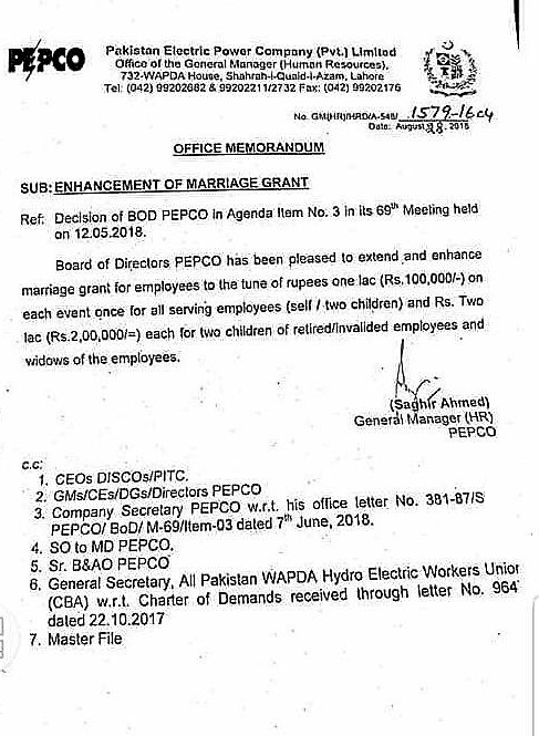 NOTIFICATION REGARDING ENHANCEMENT OF MARRIAGE GRANT FOR THE EMPLOYEES OF PEPCO
