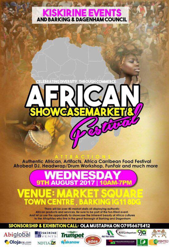 WED/9/AUG: AFRICAN SHOWCASE MARKET/FESTIVAL IN BARKING....CELEBRATING DIVERSITY THROUGH COMMERCE