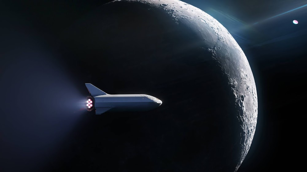 SpaceX Big Falcon Rocket (BFR) spaceship orbiting the Moon