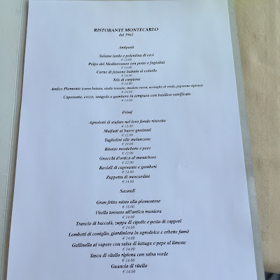 Menu from the restaurant