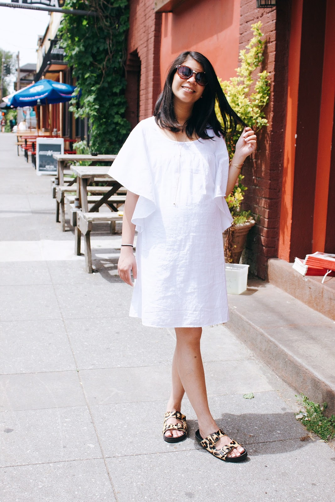 White flutter sleeve dress, spring 2016, summer outfit, spring style, old navy, thirty bucks, pregnancy style, style the bump, portland fashion blogger, leopard print sandals