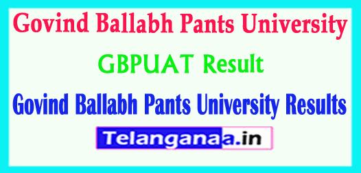 GBPUAT Result 2018 Govind Ballabh Pants University Results