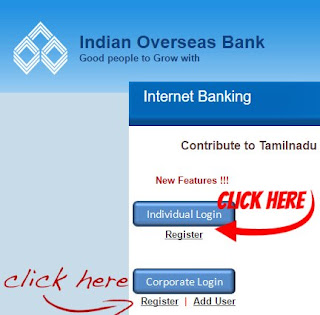 IOB home page snapshot netbanking tips