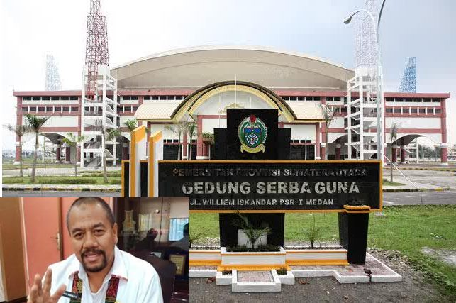 Gedung Serba Guna Sumut. Inzet: Baharuddin Siagian