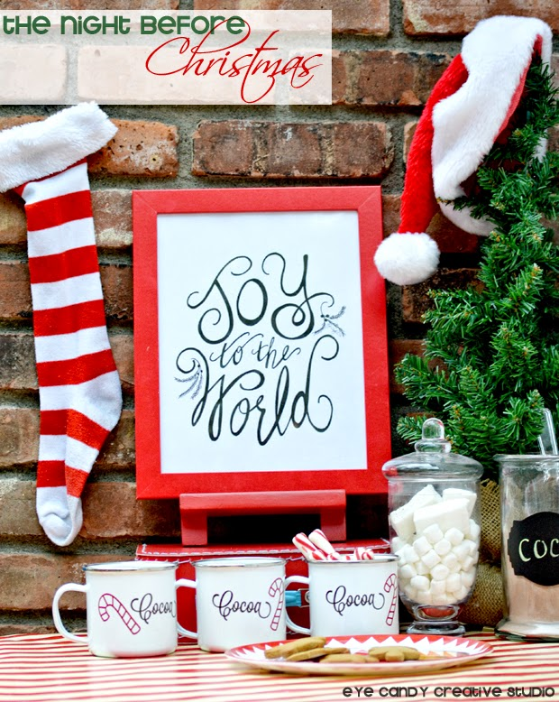 the night before christmas holiday idea, stockings, cocoa bar
