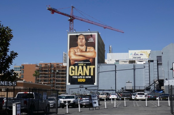 Andre Giant documentary wall mural ad