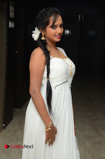 Nakshatra Pictures in White Long Dress at Rojulu Marayi Movie Audio Release Function ~ Celebs Next
