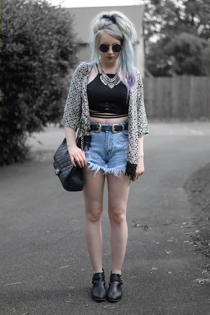 Sammi Jackson - Choies Kimono, Faux Suede Crop + Ripped Denim Shorts