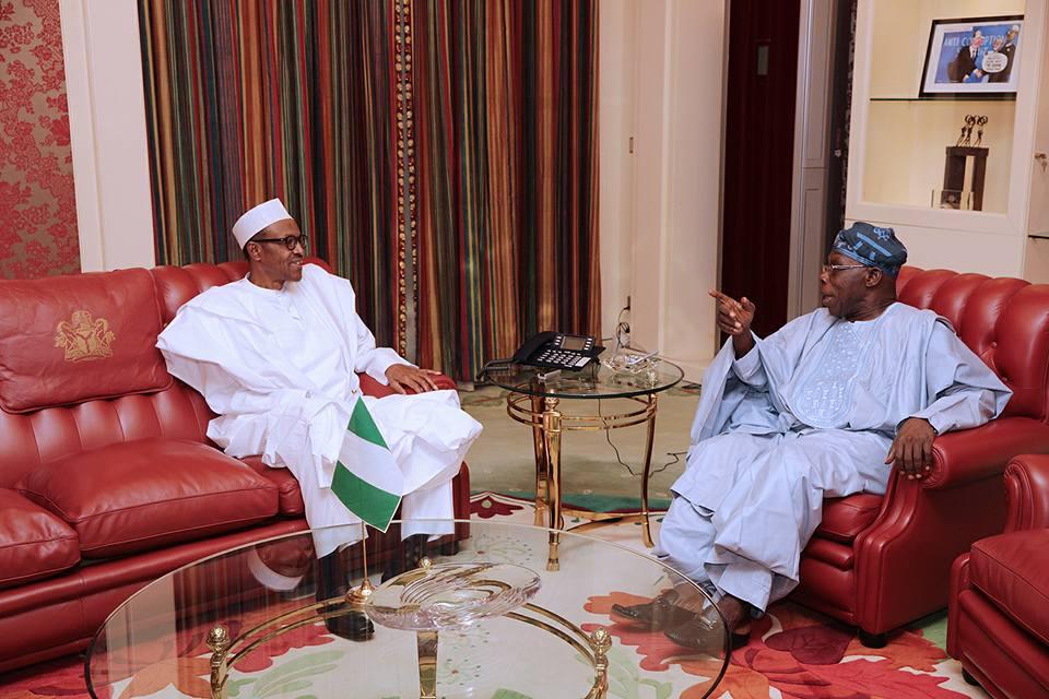 Obasanjo visits President Buhari in Aso Rock