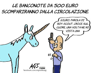 banconote, 500 euro, cinquecento euro, soldi in nero, corruzione, bce, vignetta, satira