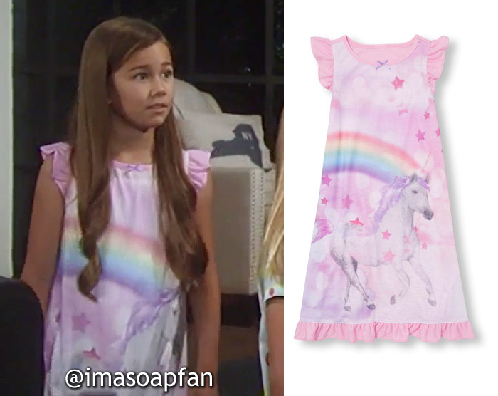 Emma Scorpio-Drake, Brooklyn Rae Silzer, Pink Unicorn Rainbow Print Nightgown, The Children's Place, GH, General Hospital