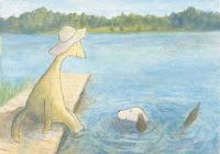 Postcard illustration of Hulmu Hukka and Haukku Spaniel swimming on the lakefront