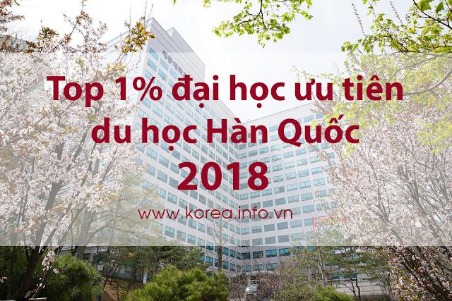 Top 1% trường đại học ưu tiên du học Hàn Quốc 2018