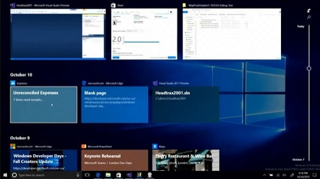 Fitur Time Line Windows 10