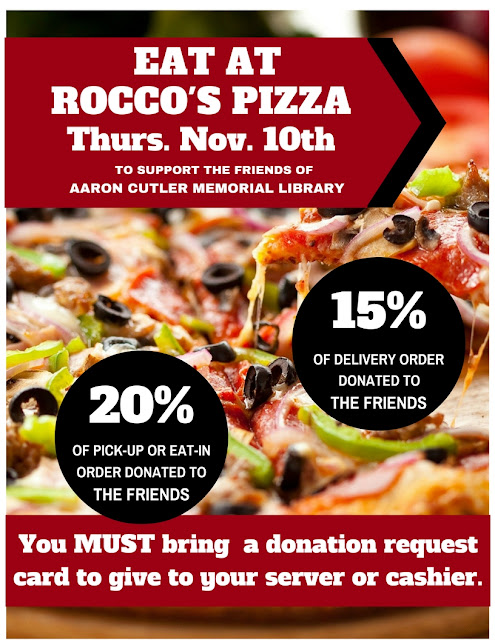 Dine-Out at Rocco's for the Friends of the Library! 11-10-16