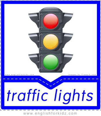 Traffic lights printable transportation flashcard with picture