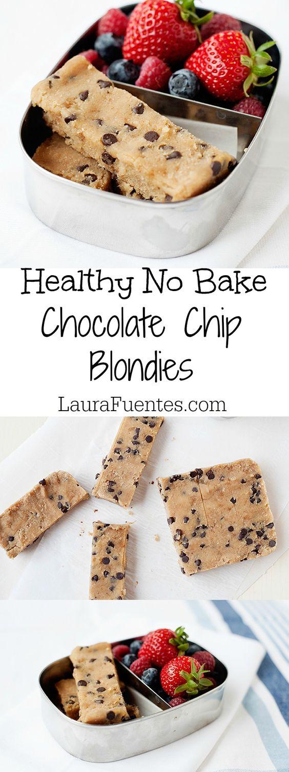 NO BAKE HEALTHY CHOCOLATE CHIP BLONDIES #nobake #healthysnack #healthysnackideas #healthyfood #chocolate #chip #blondies