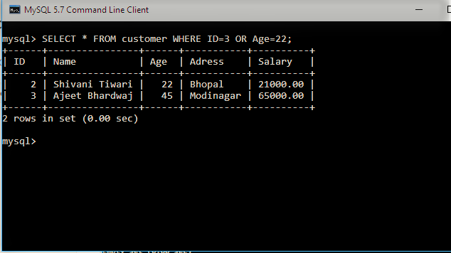 SELECT WITH OR in sql