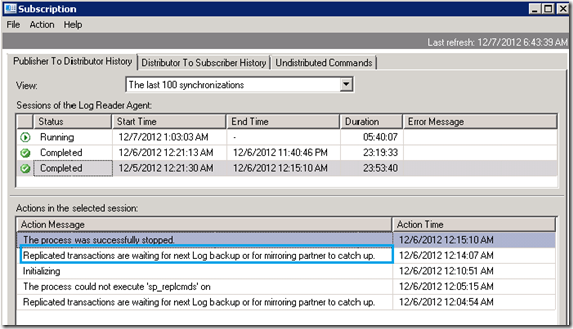 Replicated transactions are waiting for next Log backup or for