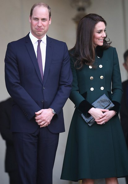 Kate Middleton wore Catherine Walker Bespoke Coat, Monica Vinader Onyx Siren Earrings and Gianvito Rossi Suede Pumps