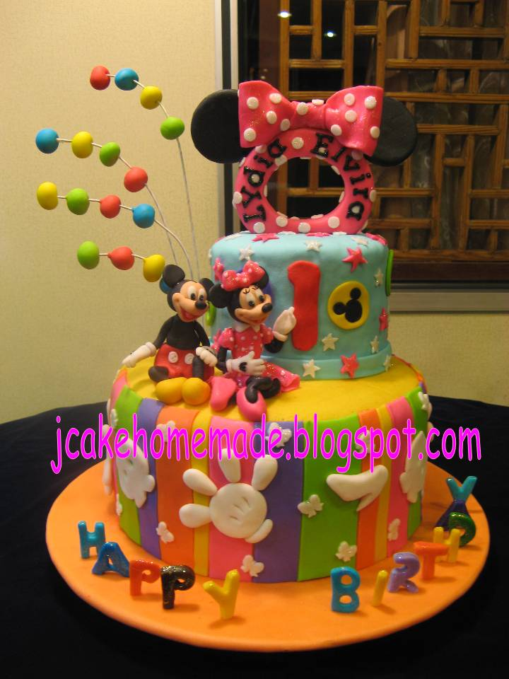 Jcakehomemade Mickey Mouse and Minnie Mouse birthday cake