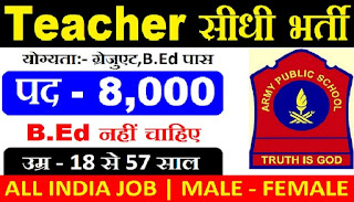 Army Public School 2018 Recruitment - Apply Online for 8000 PGT, TGT PRT Posts