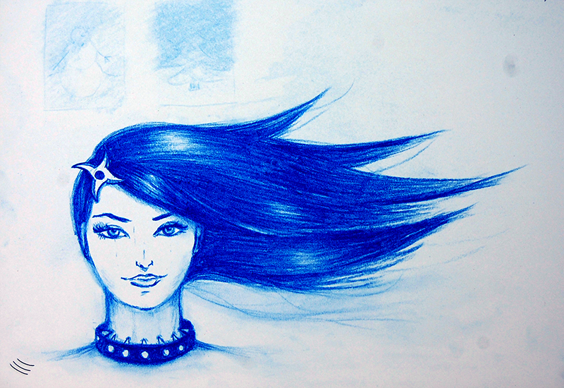 pencil drawn girl with a shuriken in her hair