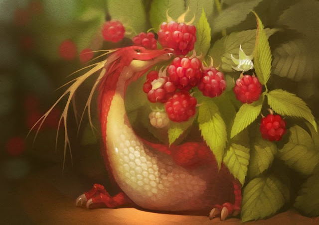 dragon and fruit illustrations