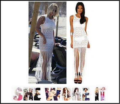 Bodycon, Cream, Crochet, Dress, Lace, Maxi Dress, Missguided, Round Neck, Sam Faiers, Sheer, Sleeveless, Tassel Detail, The Only Way Is Essex, TOWIE,