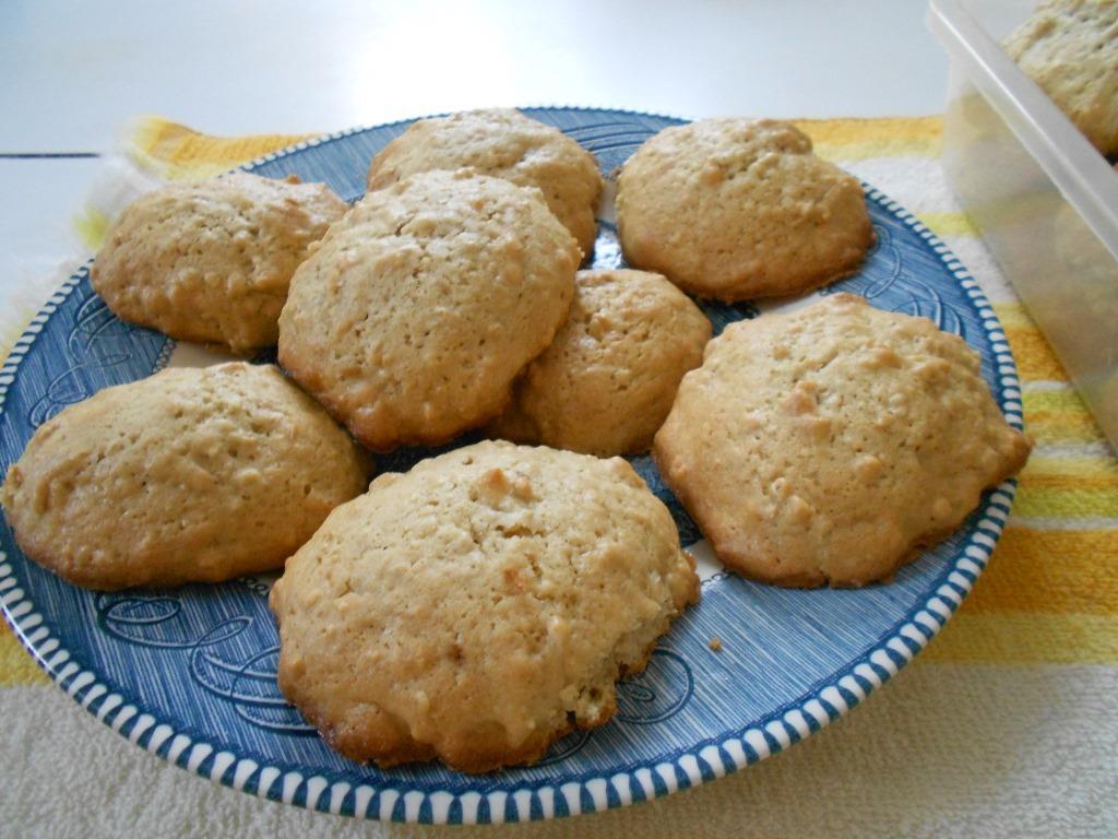 Plate Of Cake Like Oatmeal Drop Cookies