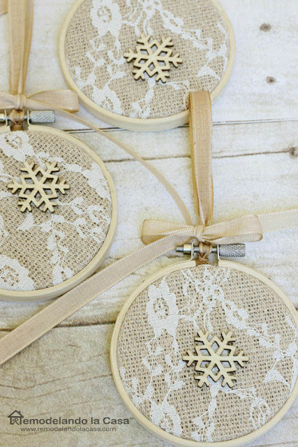 wooden snowflake embroidery hoops - ornaments