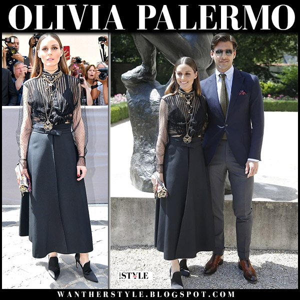 Olivia Palermo in black sheer blouse, black maxi skirt and black pumps dior fashion week july 2