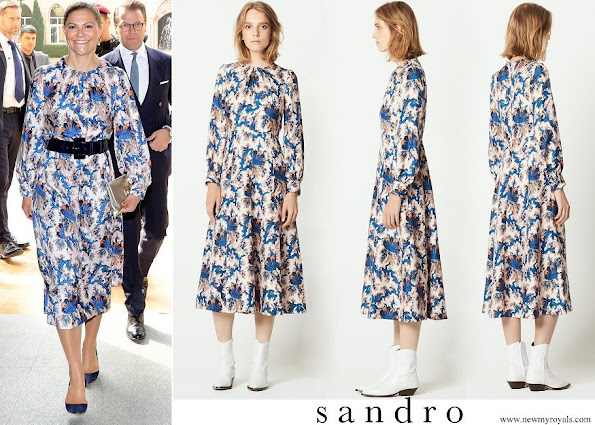 Crown Princess Victoria wore Sandro all-over print long silk dress