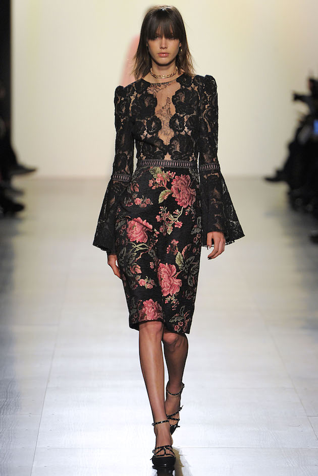dress with lace top with bell sleeves and floral embroidered skirt