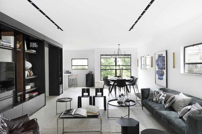 Thiết kế nội thất căn hộ chung cư 150m2 với hai màu đen trắng- 3
