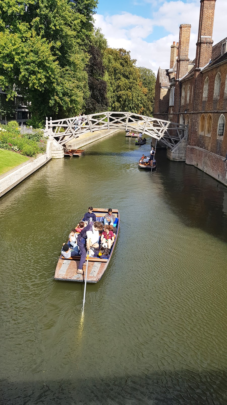 Tourists on a boat in Cambridge