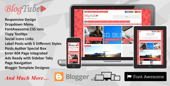BlogTube Responsive Blogger Template Preview