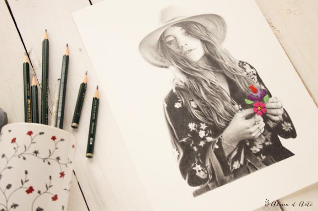 Dibujo realista a lápiz y bordado de colores sobre papel