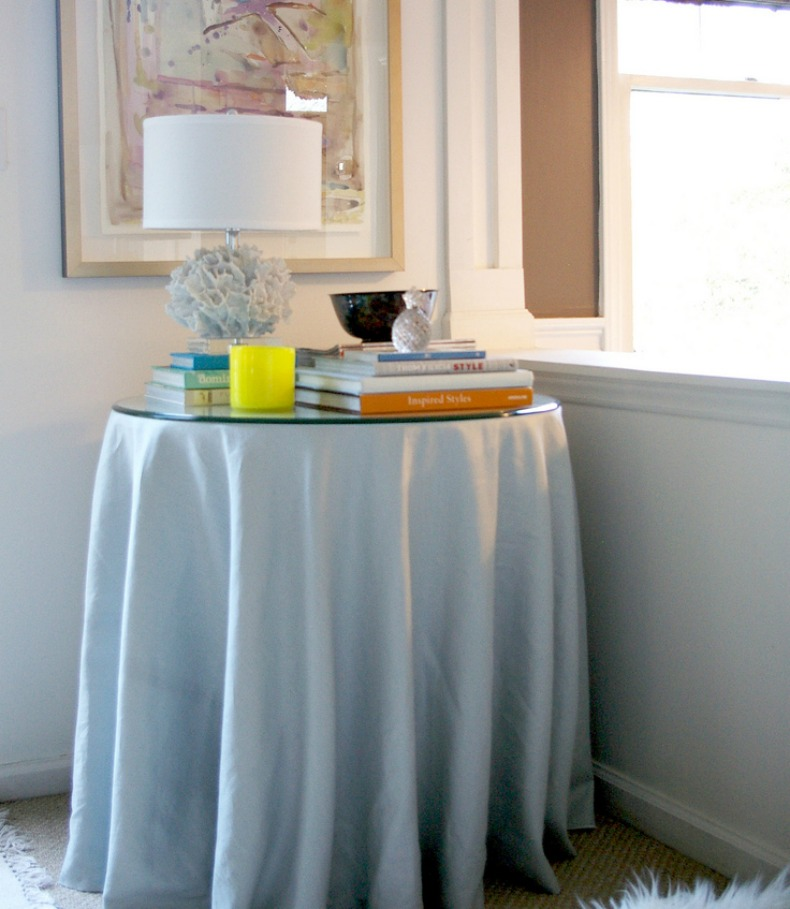 white skirted coastal table
