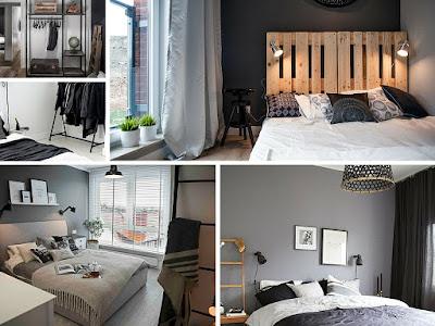 Sypialnia w stylu industrialnym, loftowym w szarości, bieli i czerni.