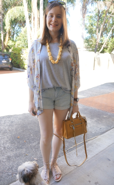 grey tee, denim shorts, spring Rebecca Minkoff yellow accessories Someday's Loving Yakuza kimono | Away From Blue
