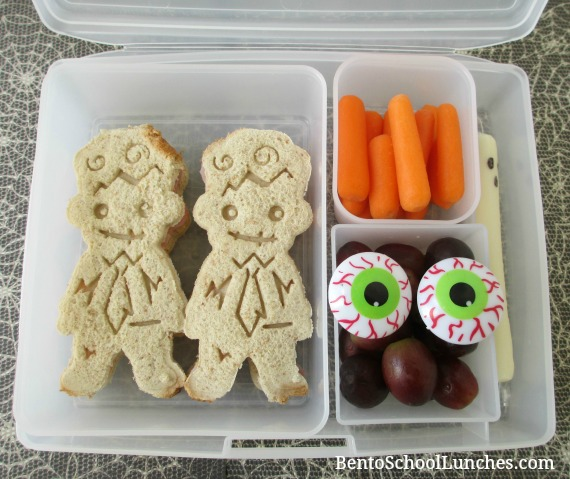 Zombie Halloween Bento. Kids school lunch.