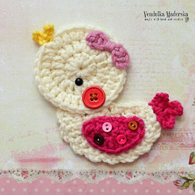 Crochet Little duck appliqué pattern