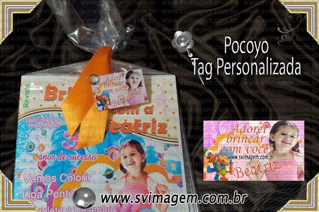cartão para fechar saquinho de lembrança de festa infantil personalizada Pocoyo em ótimo preço