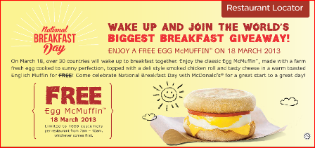 From Where I am.........Kuala Lumpur: FREE McDonald's ...