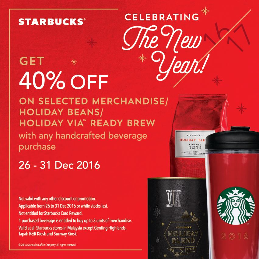 starbucks 40  off merchandises  holiday beans  via with any