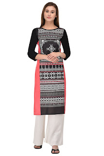 Allesia Digital Print  Red Crepe Kurti by FashionDiya Rs. 429
