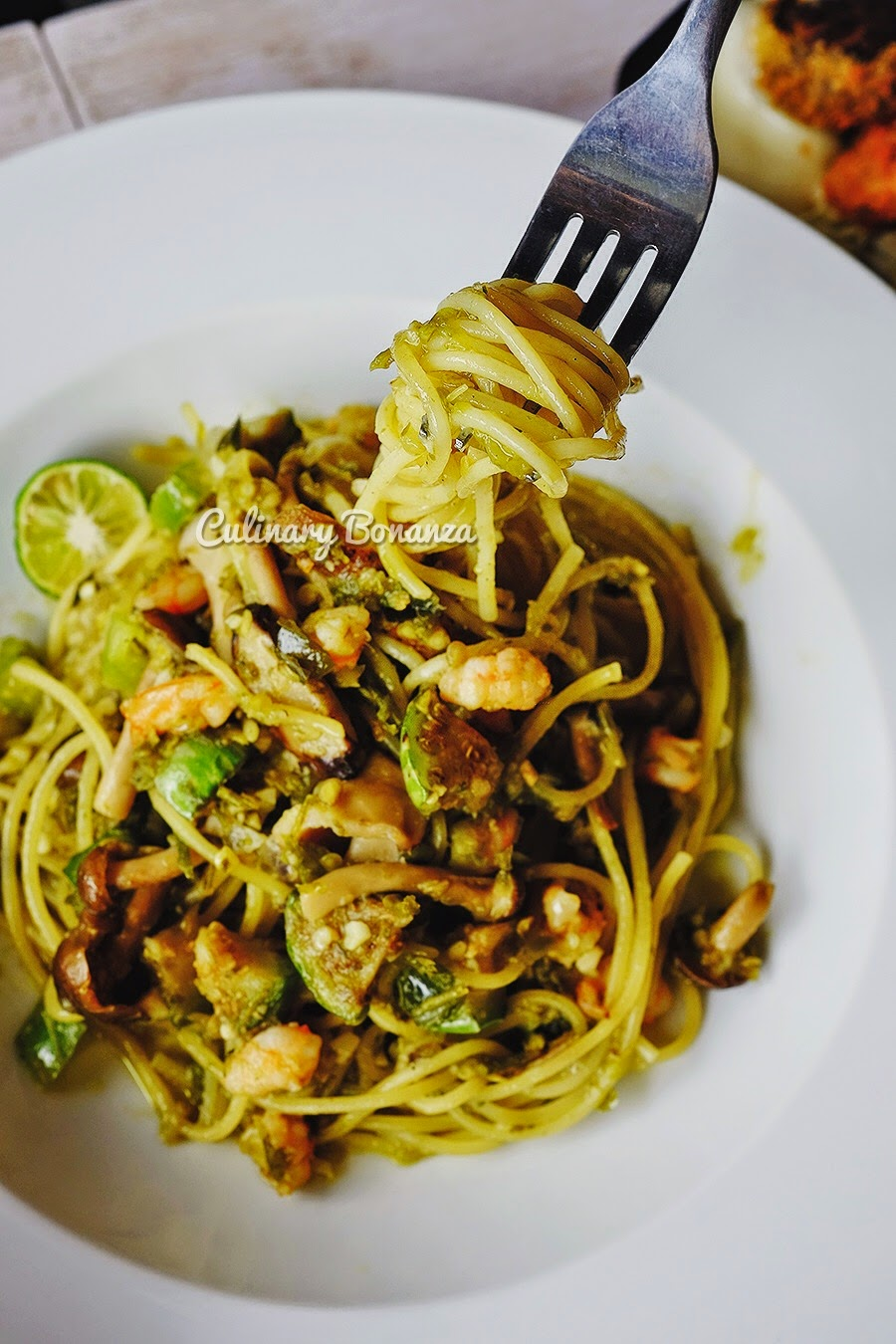 Cabe Ijo Bianco - spaghetti with Indonesia's most beloved green chili (cabe ijo), squeeze the kalamansi for some tangy kick